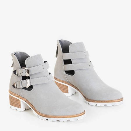 Gray women's boots on the post with Afonia decorations - Footwear