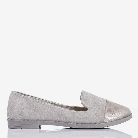 Gray women's loafers with decorative Lops embossing - Footwear 1
