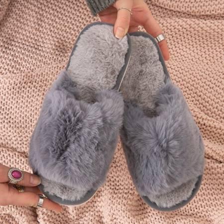 Gray women's slippers with fur Novita - Footwear