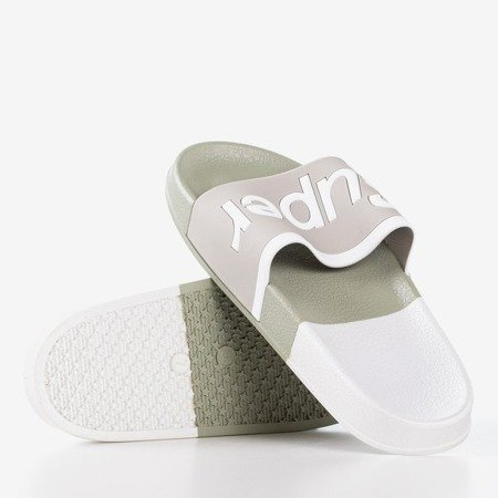 Gray women's slippers with the word Supera - Footwear 1