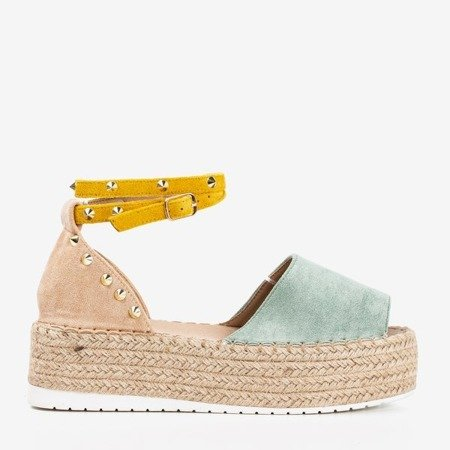 Green and beige women's sandals a'la espadrilles Irimida- Footwear 1