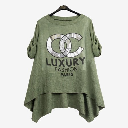 Green women's tunic with inscriptions - Blouses 1