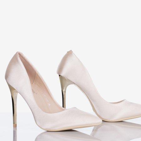 Ladies' Beige Satin Gold Star Heels - Footwear