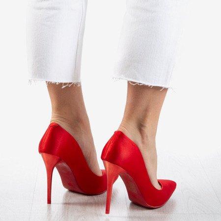 Ladies' Red Satin Gold Star Stilettos - Footwear