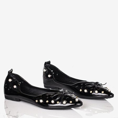 Ladies 'black ballerinas with Lil ornaments - Footwear