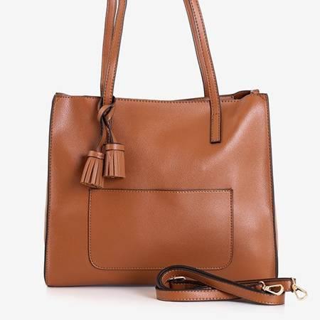 Ladies' brown bag with tassels - Handbags