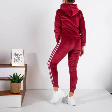 Ladies' burgundy insulated sweat suit set - Clothing