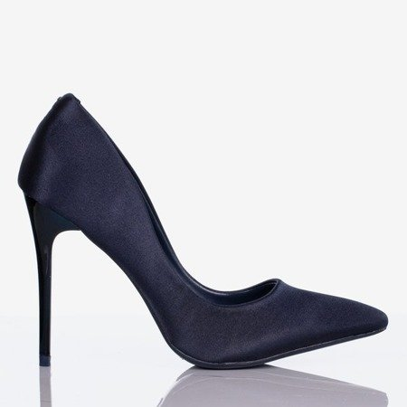 Ladies' navy blue satin heels Gold Star - Footwear