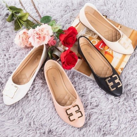 Ladies 'white ballerinas with an ornament on the toe Rionach - Footwear