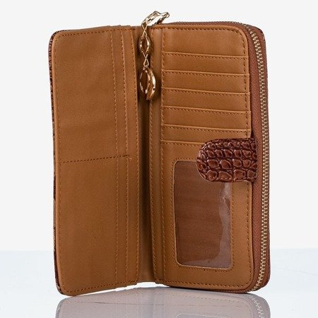 Large brown faux leather wallet with a quilted finish - Wallet