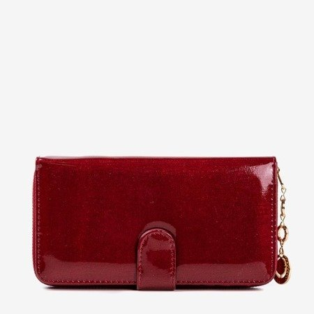 Large burgundy lacquered women's wallet - Wallet