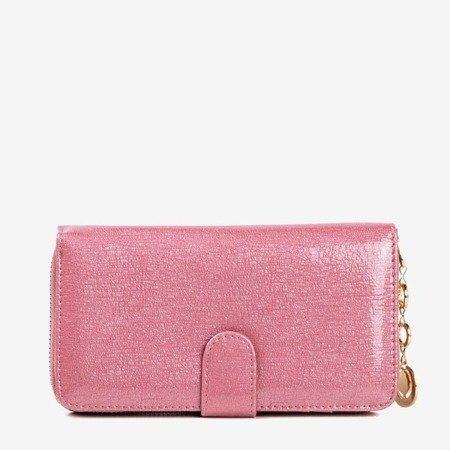 Large pink lacquered women's wallet - Wallet