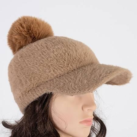 Light brown ladies 'cap with pompom - Caps