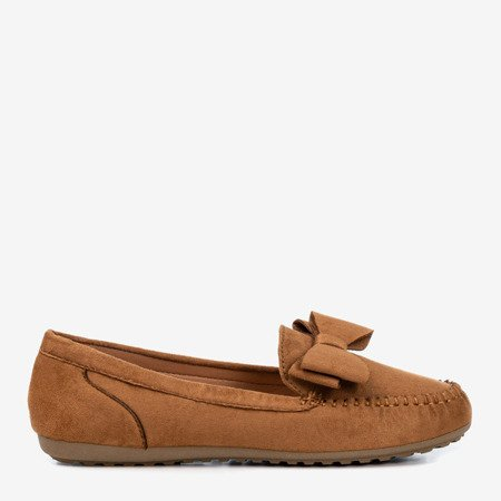 Light brown loafers for women with Ursula bow - Footwear 1