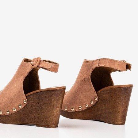 Light brown women's sandals on the wedge Izida - Footwear 1