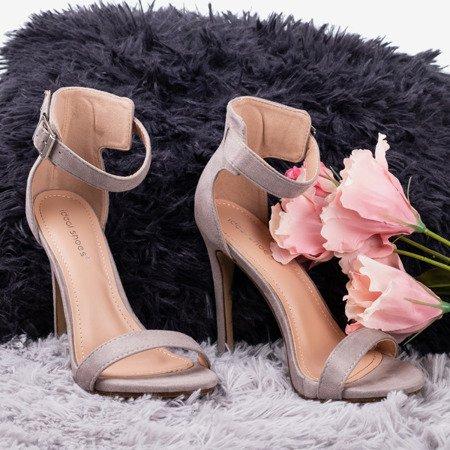 Light gray sandals on a higher heel Suella - Footwear 1