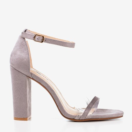 Light gray sandals on a higher post with a transparent insert Caresie - Footwear 1