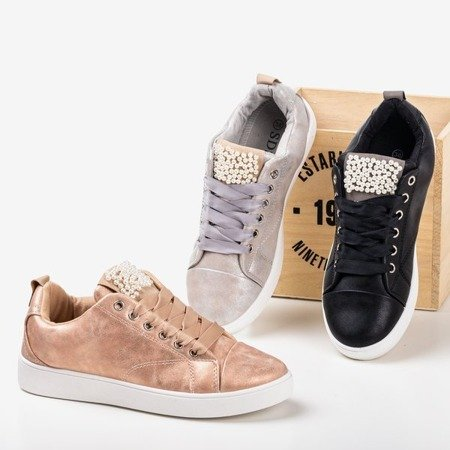 Light gray sneakers decorated with pearls Palivia - Footwear 1