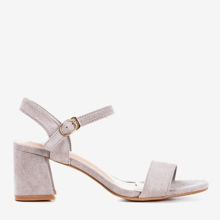Light gray women's sandals with a shiny finish Mira - Footwear 1
