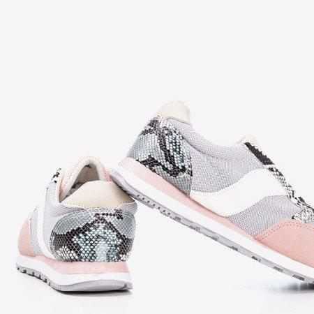 Light gray women's sports shoes with a 'a'la' snakeskin insert - Footwear