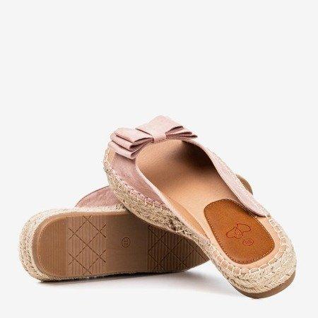 Light pink flip-flops with bow Janine - Footwear 1