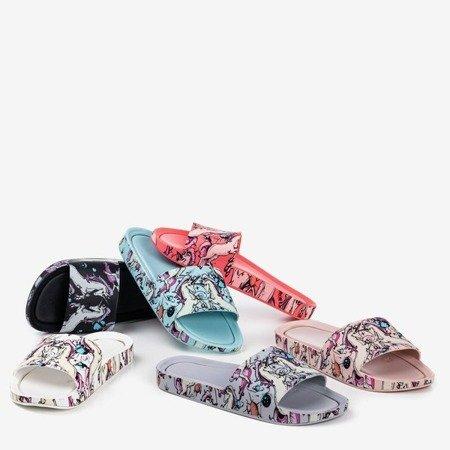 Light pink women's slippers with a unicorn Vienradzis motif - Footwear 1
