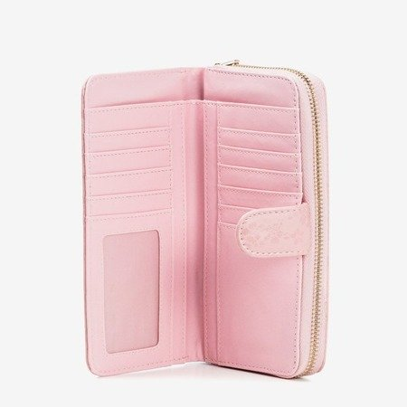 Light pink women's wallet with flowers - Wallet