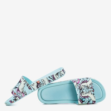 Mint women's slippers with unicorn Vienradzis motif - Footwear 1