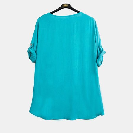 Mint women's tunic with print and inscriptions - Blouses 1