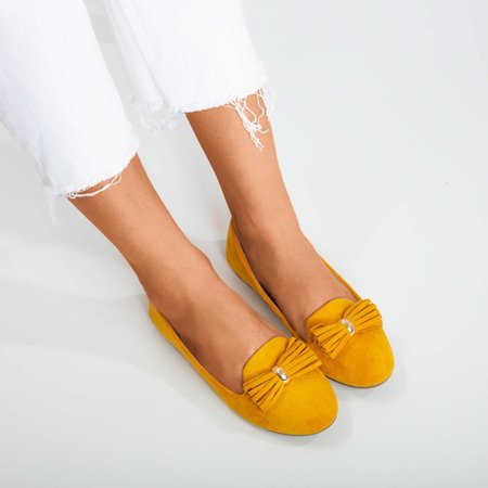 Mustard ballerinas with frallise decoration - Footwear