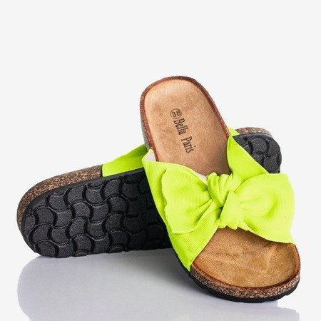 Neon yellow flip-flops with a bow Sunshine - Footwear 1