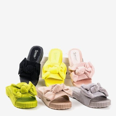 Neon yellow slippers with a bow Sabella - Footwear