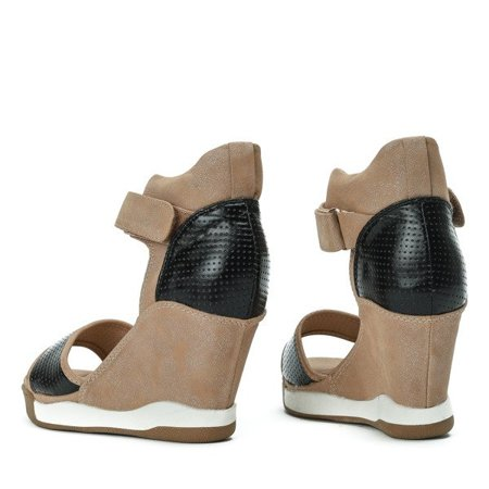 OUTLET Black and brown wedge sandals Belinda - Shoes