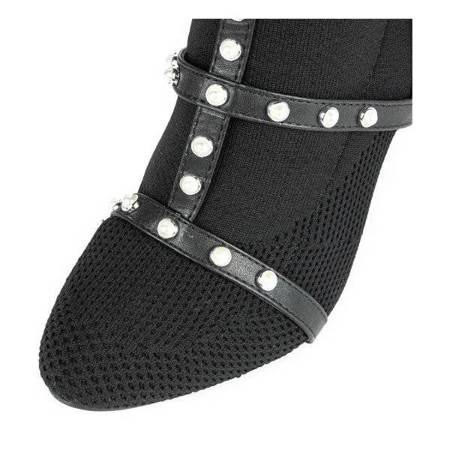 OUTLET Black boots with a decorated Lourdett upper - Footwear