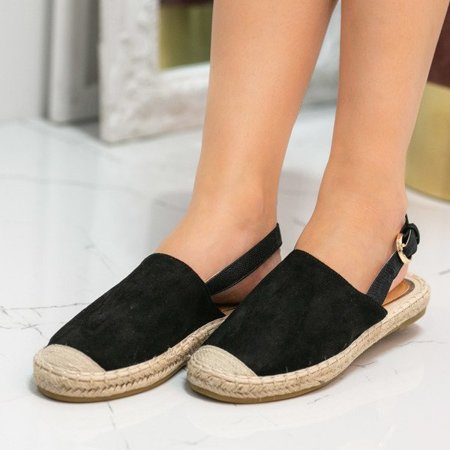 OUTLET Black espadrilles with eco - suede with an open heel Daisy - Shoes