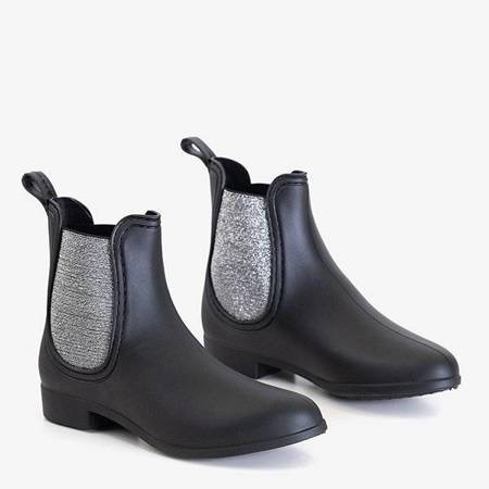 OUTLET Black galoshes with shiny insert Nela - Footwear