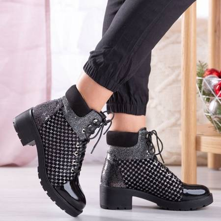 OUTLET Black lace-up boots from Madonnis - Footwear