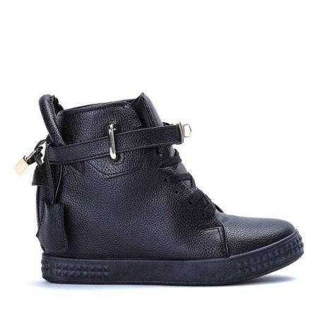 OUTLET Black sneakers with Denney's covered wedge - Footwear