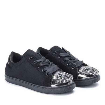 OUTLET Black sneakers with cubic zirconia Emilyana - Footwear