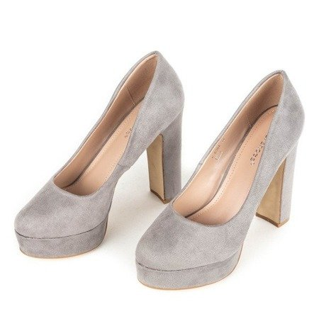 OUTLET Gray pumps on a Cerelia post - Footwear