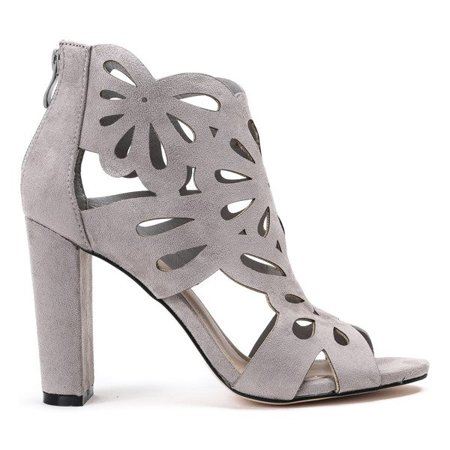 OUTLET Gray sandals on a post with cutouts Antelope - Footwear
