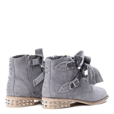 OUTLET Gray, suede bags with Paisley studs - Shoes