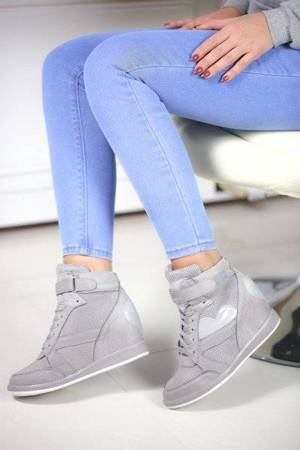 OUTLET Gray wedge sneakers - Shoes