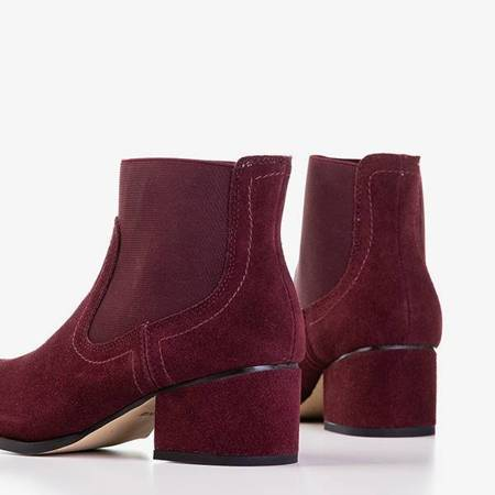 OUTLET Maroon women's boots with flat heels Tarina - Shoes