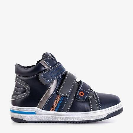 OUTLET Navy blue children's sports boots with Velcro Luciun - Footwear