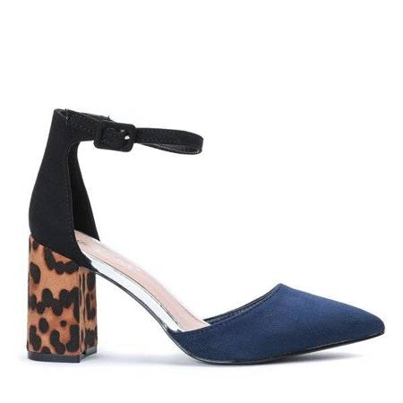 OUTLET Navy blue pumps with a leopard heel Lillien - Shoes