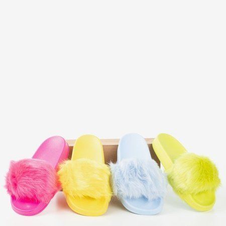 OUTLET Neon pink slippers with fur Millie- Footwear