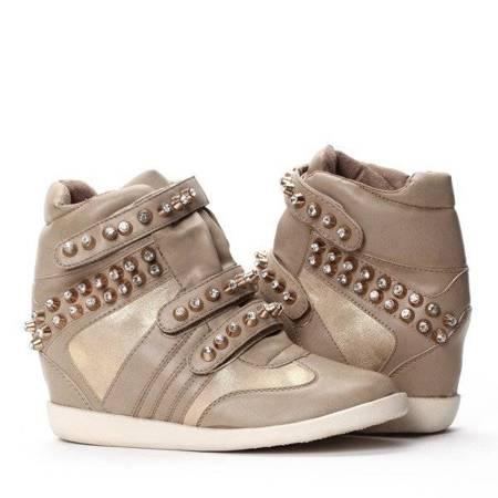OUTLET Wedge sneakers, khaki color - Footwear