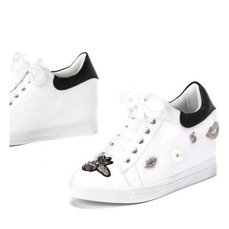 OUTLET White and black wedge sneakers with Plowen decoration - Footwear