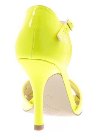 Patent yellow women's sandals on a Guisera stiletto heel - Footwear